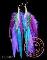 Free Shipping!! 10pcs/lot,  Multicolor POP Celebs Feather Earrings In Blue Purple Green Tone