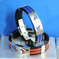 wholesale 12pcs/lot Free shipping bracelet jewelry fashion accessary sport stainless steel silicone bracelet