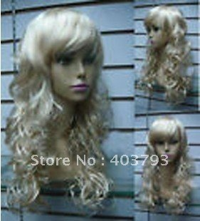 whole sale 1pcs can buy Beautiful long natural blond curly women hair wig(China (Mainland))