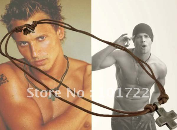 FREE SHIPMENT.leather necklace ,mens necklace,fast delivery time with high quality.(China (Mainland))