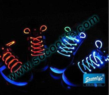 Free shipping wholesale 25pairs/lot Light Lace Flash Shoelaces,LED Luminous Shoelace
