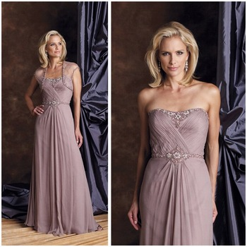 2012 High quality 2 piece with jacket chiffon beaded A line long Mother  Dress (MOD-5368)