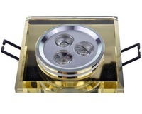 Free Shipping Wholesale 3W White / Warm White Crystal Glass LED Recessed Ceiling Down Light Downlight Fixture Lamp 110-240V