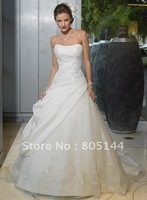 new Wedding Apparel White A-Line Charmuse Sleeveless Ruffle Dresses stunning wedding dresse size customize