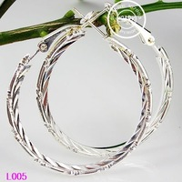 40mm 12pairs Big Circle Earrings 925 Sterling Silver Polished Earring Hoops Earrings 5B Free Shipping