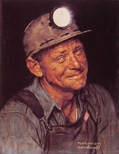 Mine America s coal Norman Rockwell 100% Hand Painted Oil Painting Repro Museum Quality Gift(China (Mainland))