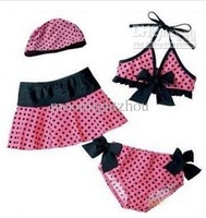 girls' swimsuits suits Kids' Swimwear Baby girls dot Bikini cap skirt 4-piece set 0608