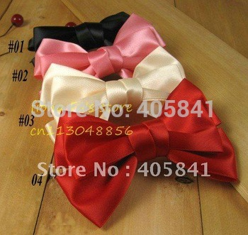 MIX COLOR silk satin fabric ribbon bowknot spring hair clip bow hairpin headware barrette,free shipping,50pcs/lot. HCP004