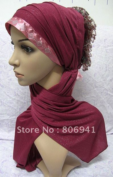 S013 fashion design muslim hijab hat,latest scarf and hijab,free shipping,assorted colors(China (Mainland))
