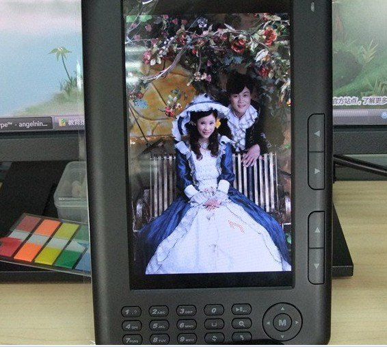 Free Shipping 7 inch Ebook Reader 4GB with MP3/MP4/FM radio/Digital photo frame function(China (Mainland))