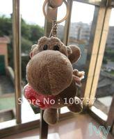"NICI Holding Red Heart Grat hippo Key Chain Stuffed 4.5""NEW"