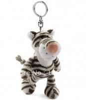 "NICI Black white Stripe tiger Key Chain Stuffed 4.5""NEW"