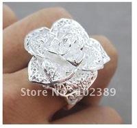 Free ship fee 925 sterling silver flower finger ring US standards size 7 & 8 R368