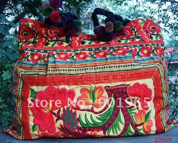 Wholesale Fashion 54cm Jumbo Shoulder Handbag Red Handbags Tote Bag 2-side Embroidered 1pc/Lot Free Shipping(China (Mainland))