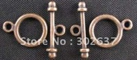FREE SHIPPING 300sets Antiqued copper plt smooth circle clasp A815C