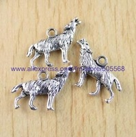 free shipping 19 pcs/lot,wholesale  fashion lovely wolf charms,tibetan silver charms,jewelry findings jewelry accessories