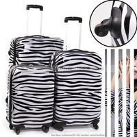 20inch Most popular item! High fashion zebra trolley luggage,ABS PC travel suitcase