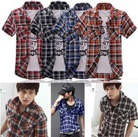 Wholesale Male short-sleeved shirt Slim Korean features collar man's shirt 941