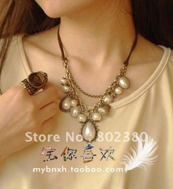 Wholesale and retail charm fashion pearl necklace, with the free shipping,20pcs/lot with mix design(China (Mainland))