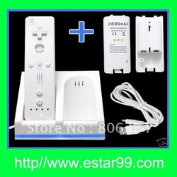 Free shipping&amp;Bottom price-Remote Controller Charger + 2 Battery Packs for Wii Game(China (Mainland))