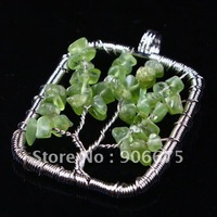 Mixed ORder! Wire Wrap Green Olivine Agate Citrine Amethyst Gemstone Life Tree Chips Beads Rectangle Pendants Wholesale