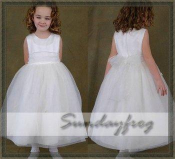Custom Made Ball Gown Flower Girl Dress Floor-length Organza Sash Flowers First Communion Dress Wedding Party Dress -FLN3