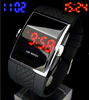 Free shipping Square Stainless Steel Back LED watch,Red LED Men's Digital Electronic LED Watch Red Light (Black)