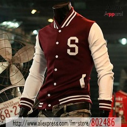 vip Sportswear Softball Wear Mens Slim baseball clothes fashion men's jackets S letters baseball jacket Coats,JK65(China (Mainland))