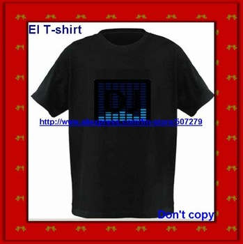 EL T shirts sound activated 50pcs a lot  can do your logo use AAAbattery