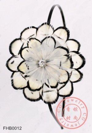 Free Shipping !!! 10 pcs/lot, Bride Fascinator Flower Shape Handmade White Feather Hairbands/ Headpiece(China (Mainland))