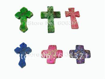 6pcs CROSSE SET IMPERIAL JASPER natural pendant gem stone  accessories J006-7
