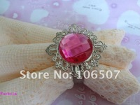 100% quanlity assurances 50pcs Fuchsia Gem Napkin Rings banquet Wedding Favour Party table decor 2011 HOT-FREE SHIPPING