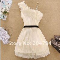 New Women Off shoulder sweet Pleated chiffon Dress Mini Dress(Y152)