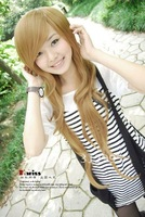 Free  shopping A long straight wig resistance to high temperature can be very hot rolls wig