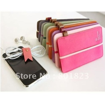 Free shipping-20pcs/lot,Suede leather mobile phone  protection package/mobile phone bag (brown)