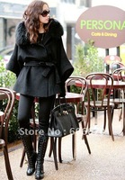Free Shipping sexy Real Fox Fur Collar Woman Coat