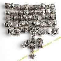 100pcs MIXED 50 DESIGN Charms Beads Tibetan Silver DIY BEADS Fit CHARM Bracelets JOBLOT 151315