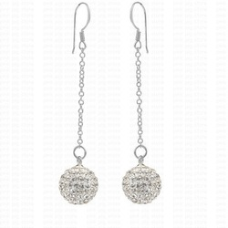 Free shipping white 2pcs 925 silver jewelry long line silver earring sterling silver full cz rhinestone ball 925 earrings(China (Mainland))