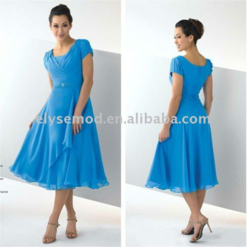 Modest Ice Blue Cap Sleeves Tea Length Chiffon Designer Beaded Cocktail Dresses(China (Mainland))