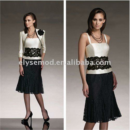 Classic Design Formal Straps Silk Shantung Lace Knee Length Mother of the Bride Dresses(China (Mainland))