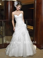 New Sexy white Satin&Chiffon A-Line sleeveless-style V-neck ruffle Beading Ball a-line Wedding Dress Fantacy Bridal Dress