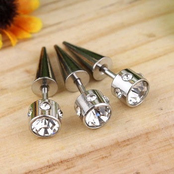 Free Shipping 3Color 12pair Charm Titanium steel Earring Fashion Cube Zircon Stud earrings Buy get free Gift