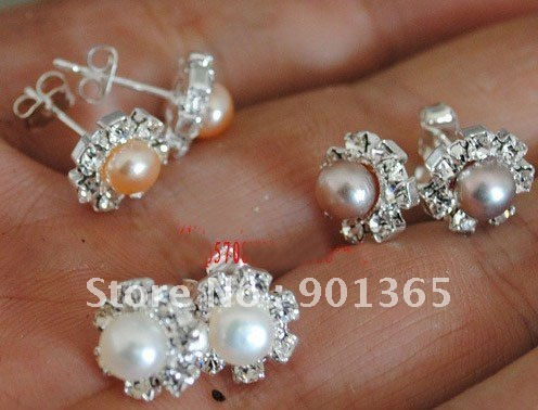5-6mm Natural White Pearl Earrings With Sunflower shape 20 pairs/lot 3 colors available& Free Shipping(China (Mainland))