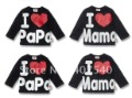 20pcs Baby shirt top clothes i love mama papa shirts tops children clothing wears out wear