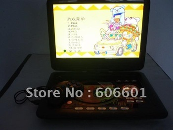 Free Shipping  DVD/EVD 14 inch portable DVD player RMVB Mobile DVD with TV  game screen book 3D