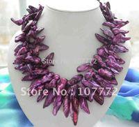 Stunning! 3ROW 30MM foliage PURPLE BAROQUE PEARL necklace+free shippment