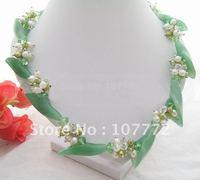 Stunning! Pearl@Aventurine Flower@Crystal Necklace+free shippment