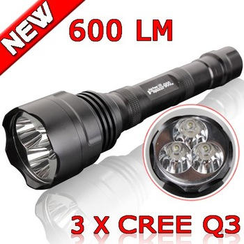 New 600 Lumens LED Flashlight  3*CREE Q3 bulbs 3 Modes Light outdoor Waterproof Lamp Camping Sporting Super Bright Torch A88