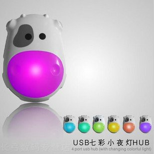 Colorful Fu Niu Hub USB2.0 Hub usb 4 cartoon cow night light gift ideas usb led light(China (Mainland))