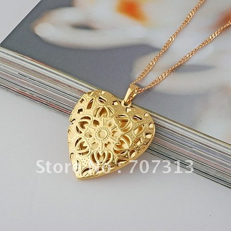 fashion pendant necklace 18k yellow gold filled heart hollow pendant necklace jewelry jewellry necklace gift(China (Mainland))